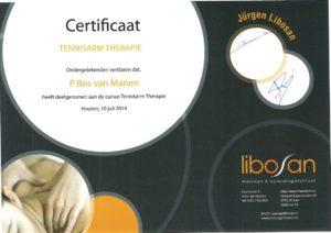 Certificaal tennisarm therapie