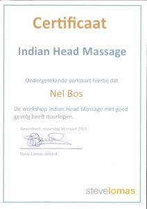 Certificaat Indian head massage
