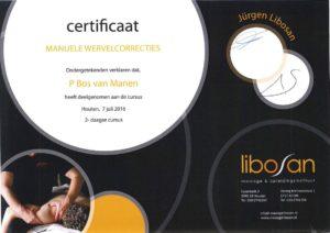 Certificaat manuele wervelcorrecties